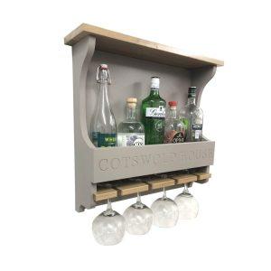 Gretton Grey Shaker Style Personalised 4 Glass Drinks Rack 572x141x528
