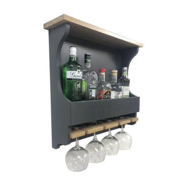 Gin and Tonic Amberley Grey Personalised Shaker Style Oak 4 Glass Drinks Rack 572x141x528 with bottles