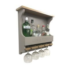 Gin and Tonic Gretton Grey Personalised Shaker Style Oak 4 Glass Drinks Rack 572x141x528 with bottles