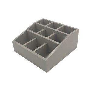 Gretton Grey Painted Pine 3 tier 9 compartment cutlery & condiment holder 305x305x140