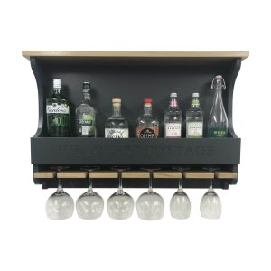 Hillcrest Cottage Amberley Grey Personalised Shaker Style Oak 6 Glass Drinks Rack 812x141x528 front view with bottles