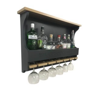 Hillcrest Cottage Amberley Grey Personalised Shaker Style Oak 6 Glass Drinks Rack 812x141x528 with bottles