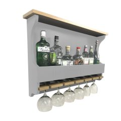 Hillcrest Cottage Gretton Grey Personalised Shaker Style Oak 6 Glass Drinks Rack 812x141x528 with bottles