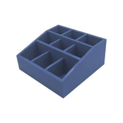 Kingscote Blue Painted Pine 3 tier 9 compartment cutlery & condiment holder 305x305x140 plan view