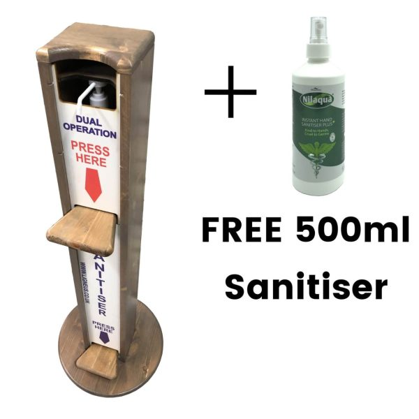 Light Oak pine dual operation freestanding hand sanitiser dispenser stand 1030x400D with free bottle
