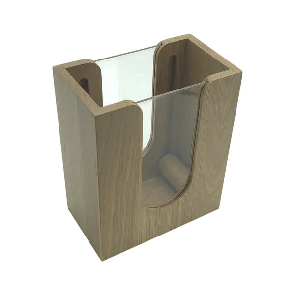 oak napkin dispenser with acrylic and rollers 196x115x240