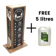 pine hands free hand sanitiser 5l double dispenser stand 528x350x1000 plus free 5 litres