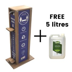 pine hands free hand sanitiser 5l single Dual Operation dispenser stand 475x297x1000 plus free 5 litres