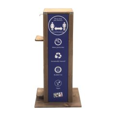 pine hands free hand sanitiser 5l single Dual Operation dispenser stand 475x297x1000 side view