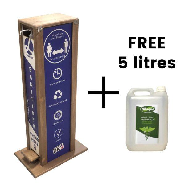 pine hands free hand sanitiser 5l single dispenser stand 475x297x1000 plus free 5 litres