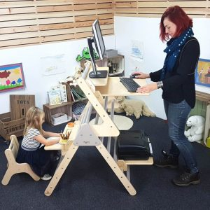 Pikler desk extender for home working and day care