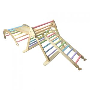 Junior Ligneus PLAY Pikler Triangle Set Pastel Rainbow with ladder up