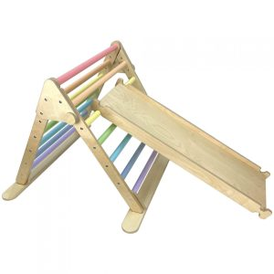 Junior Ligneus Play Pikler Triangle Pastel Rainbow with slide