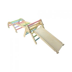Nursery Ligneus PLAY Pikler Triangle Set Pastel Rainbow with slide up