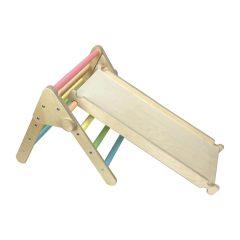 Nursery Ligneus Play Pikler Triangle Pastel Rainbow with slide