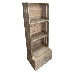Rustic 3 crate shelving display unit 500x370x1143