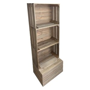 Rustic 3 crate shelving display unit 500x370x1143