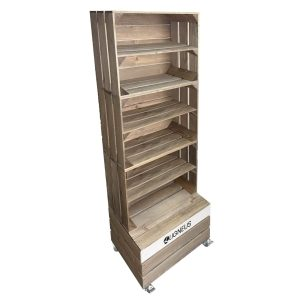 Rustic 3 crate shelving display unit 500x370x1143 with shelves and casters and ligneus branding on white panel