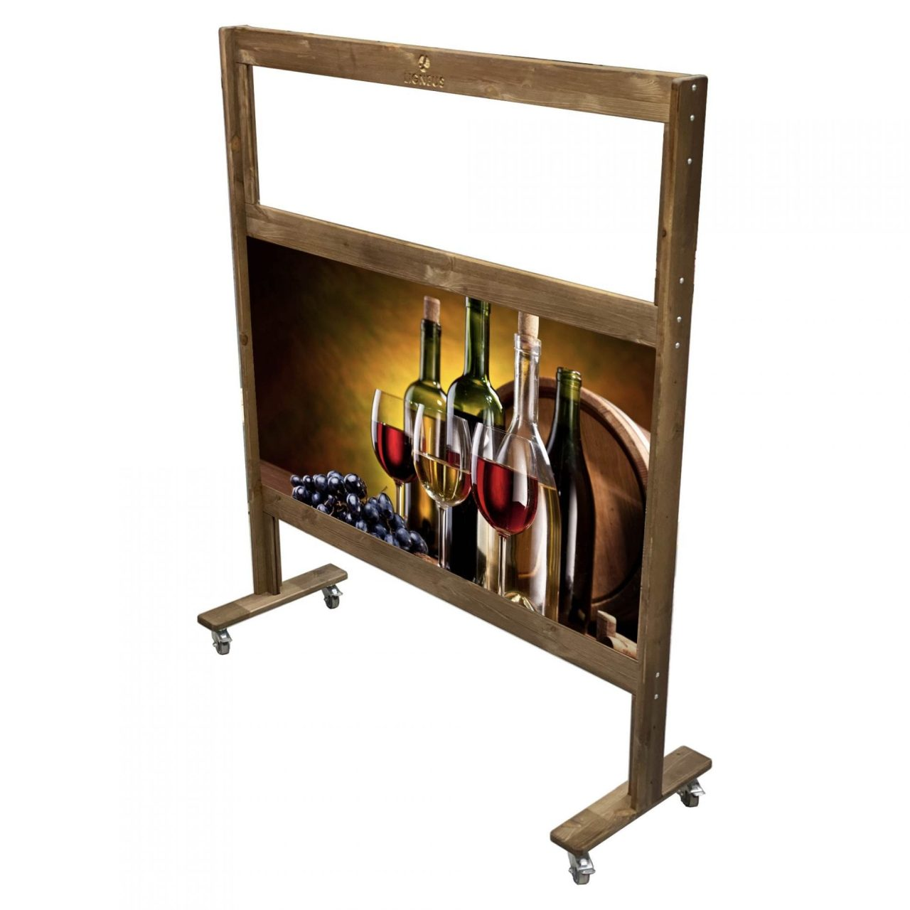 Solid Pine Frame Room Divider Partition Screen with mixed media and see thru panel 1200x400x1400 with wine