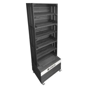 Amberley Grey Painted 3 crate shelving display unit 500x370x1143 with shelves and casters and branding