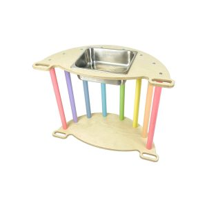 Nursery Ligneus PLAY Pikler multifunctional 4 in 1 Climbing Rocker Arch Pastel Rainbow as sensory tray table