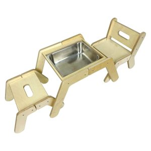 Nursery Single Sensory Tray Table Set with chair, stool and sink