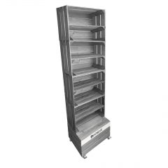 Gretton Grey Painted 4 crate shelving display unit 500x370x1730 with shelves and casters with print area