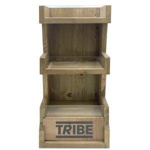 Customised Light Oak Pine 3 Tier vertical Display Stand with branding panel 278x150x400 front view