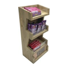 Customised Light Oak Pine 3 Tier vertical Display Stand with branding panel 278x150x400 with merchandise