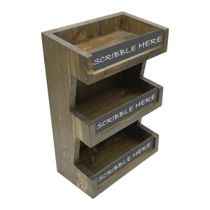 Customised Rustic Brown Pine 3 Tier vertical Display Stand 278x150x400 with chalk pen black board panels