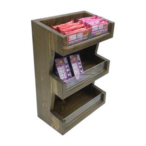 Customised Rustic Brown Pine 3 Tier vertical Display Stand 278x150x400 with merchandise
