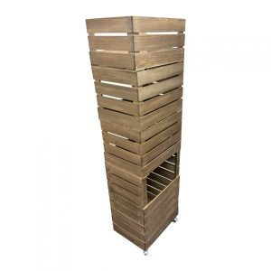 Rustic 3 drop front crate display and storage unit 500x370x1700 with casters rear view storage