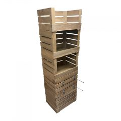 Rustic 3 drop front crate display and storage unit 500x370x1700 with hangers