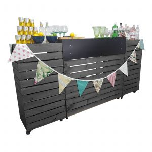 Amberley Grey Painted Pop up Bar Front view