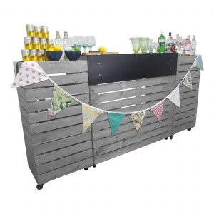 Gretton Grey Painted Pop up Bar Front view