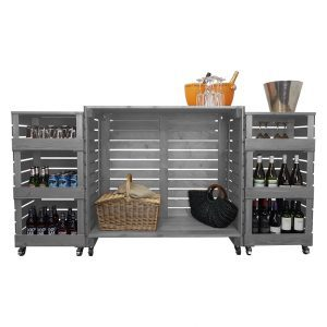 Gretton Grey Painted Pop up Bar rear view
