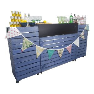 Kingscote Blue Painted Pop up Bar Front view