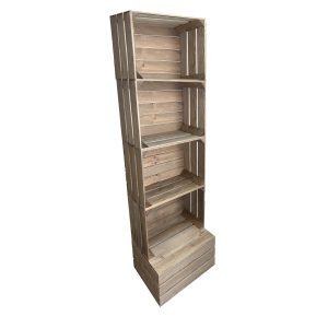 Rustic 4 crate shelving display unit 500x370x1730