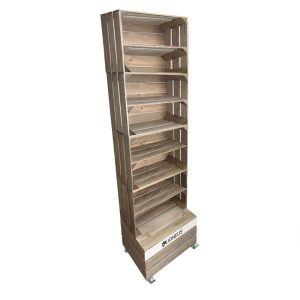 Rustic 4 crate shelving display unit 500x370x1730 with shelves and casters