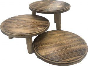 Scorched pine milking stool set
