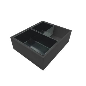 Black painted ply double crock housing with crocks