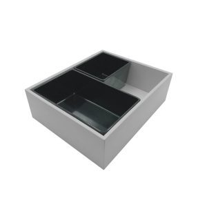 Gretton Grey painted ply double crock housing with crocks
