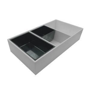 Gretton Grey painted ply triple crock housing with crocks