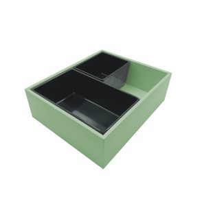 Tetbury Green painted ply double crock housing with crocks